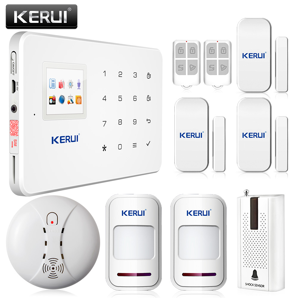 Kerui G18 Gsm Sim Auto Call Touch Keypad Lcd Gsm Home Security Wireless System Pir Sensors