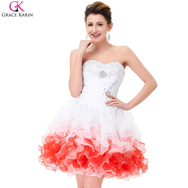 Grace Karin Organza White Short Cocktail Dresses Crystal Beaded Sequin Prom Party Ball Gowns Dresses Vestido Corto Coctel 4977