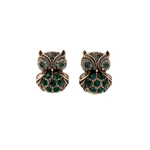 Animal Design Green Owl Earring 2017 New Fashion Bijoux Ear Piercing Women Stud Vintage Jewelry