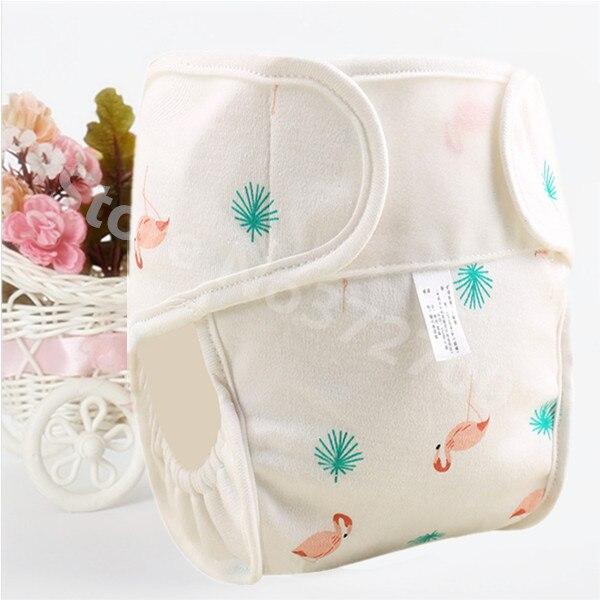 Хлопковые детские подгузники, подгузники, многоразовые стираемые тканевые подгузники, непромокаемые подгузники для новорожденных, трусики для тренировок, подгузники с карманами - Цвет: Flamingo