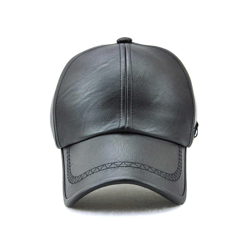 b9e51430a2fcd4 ... TOHUIYAN Mens Leather Baseball Cap Classic Curved Brim Snapback Hat  Autumn Winter Warm Caps Adjustable Bone ...