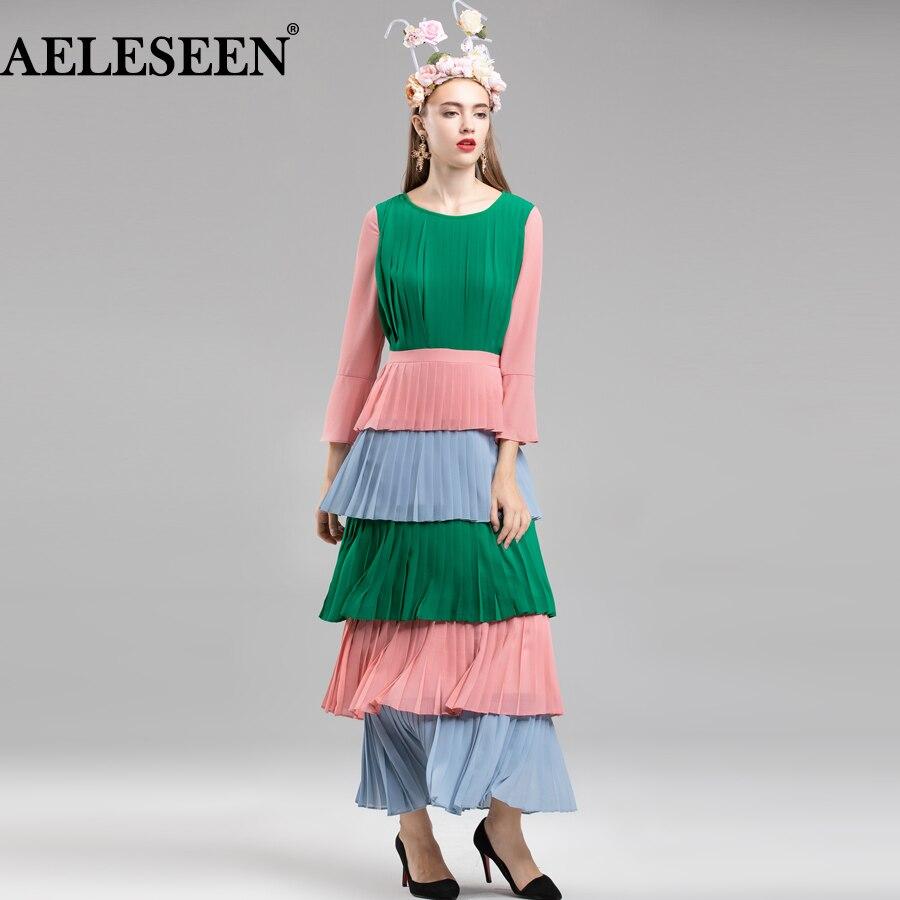 AELESEEN femmes Designer robe de piste 2018 mode en cascade volants plissé automne robe contraste couleur patchwork robe élégante