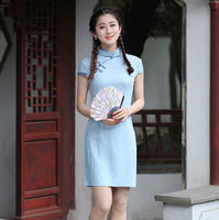 Light Blue Traditional Chinese Women Short Qipao Dress Summer Cotton Linen Cheongsam Elegant Slim Dresses S