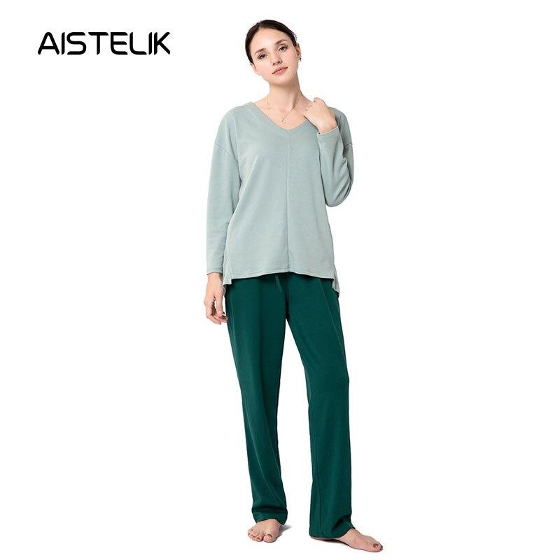 Nouveau automne et hiver pyjamas femmes coton v-cou pyjamas ensemble femmes pyjamas maison pyjamas Europe et amérique confort
