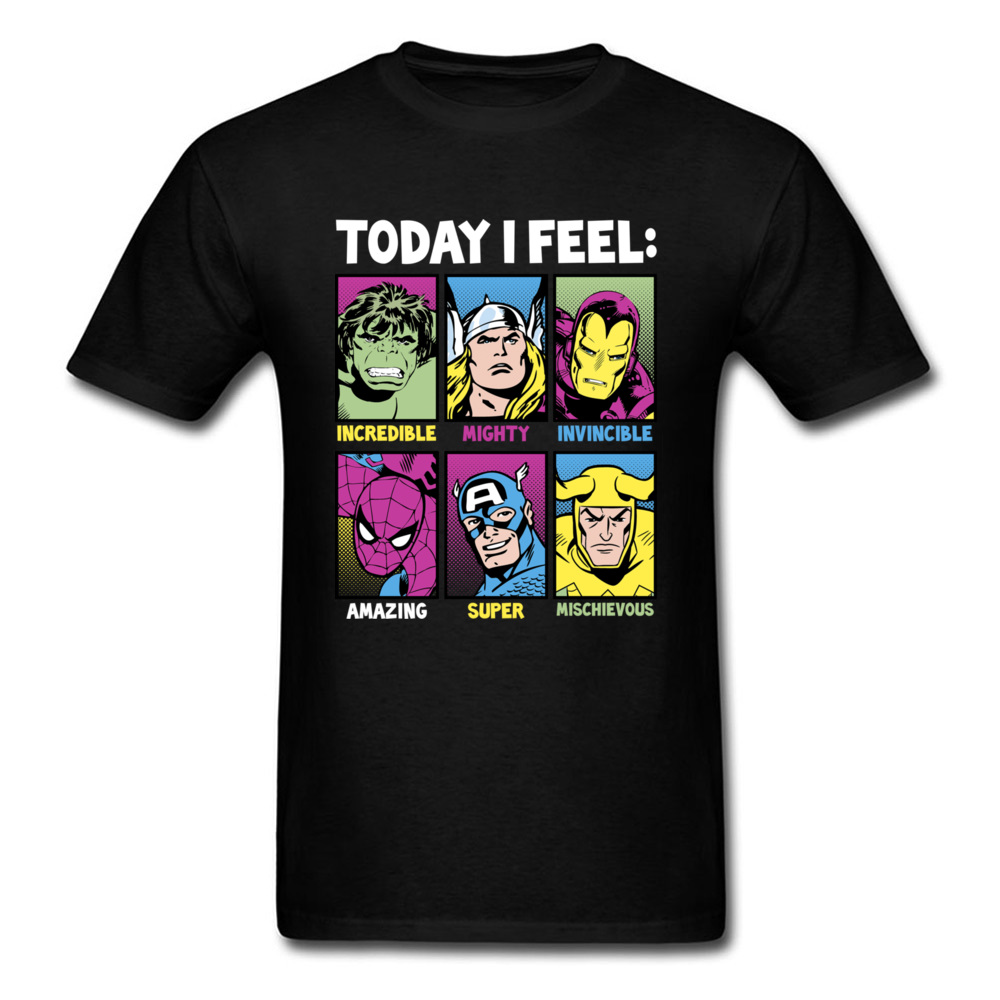 Today I Feel Marvel Heroes T Shirt Men Tshirts Classic Comics Clothes Iron Man Top Black Tees Plus Size T-shirt For Fathers Day