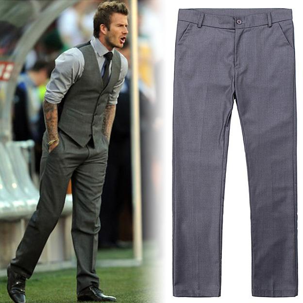 Qualidade dos homens Slim Fit Calças de Negócios Terno de Calça de mariage Casamento Formais Calça Cinza Mens Vestido Calças Calças de Escritório