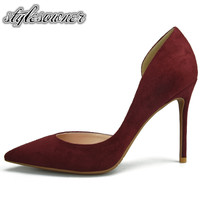 Stylesowner 2018 Top Selling Solid Color High Heels Woman Pumps 10cm Shallow High Quality Faux Suede Thin Heels Woman Shoes