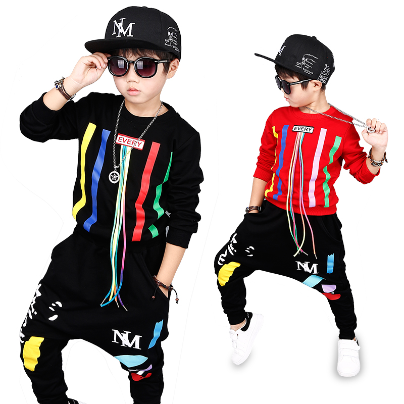 1 Bibihou new spring autumn kids clothes sets children 2 pcs Hip hop suit Shirt coat + Harem pants baby boys sport suits Color bar