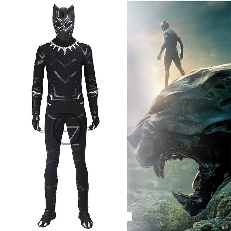 Black Panther Costume Cosplay Captain America Civil War Adult Men Whole Set Superhero Halloween Costume Custom Made Any Size