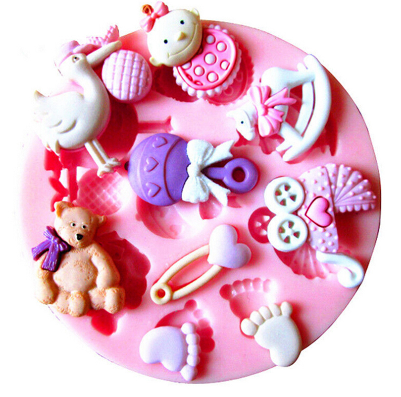 Angel Wings Fondant Cake Silicone Mold Baby Shower Party DIY For Reverse Forming Chocolate Kitchen Baking Decoration Tools F0060