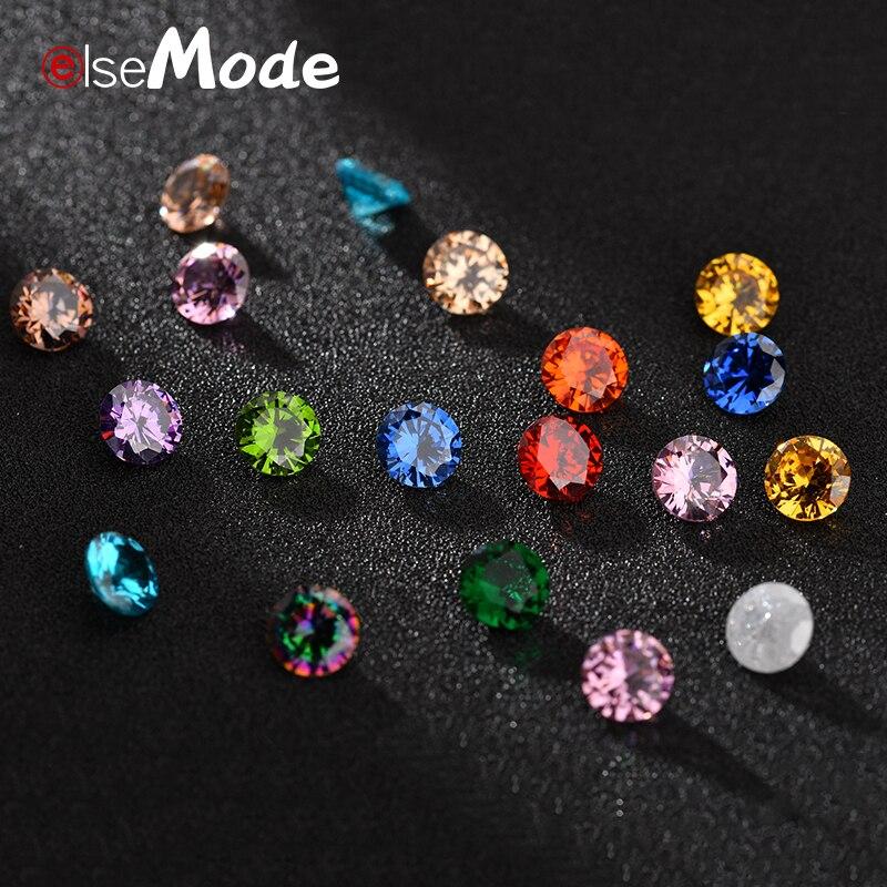 Elsemode 6 unidades/pacote qualidade superior 16 cores aaaaa zircão cúbico contas redonda pedra de zircônia diy contas para acessórios de jóias