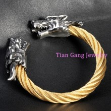 Men Fashion Jewelry Gold Twisted Chain Bracelet Stainless Steel Bangle Dragon Design Vintage Men Accessories