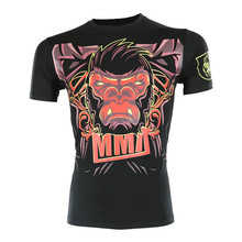 VSZAP Fight Wear Sanda Muay Thai MMA Fitness T-Shirt Men High Quality Tee Shirt Homme UFC Fighting Gorilla Bull Animal Printed