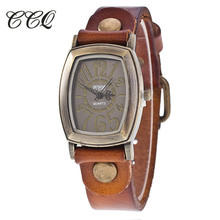 CCQ Marca de Luxo Da Moda Senhoras Relógio Pulseira de Couro de Vaca Do Vintage relógio de Pulso Casual Mulheres Relógio de Quartzo Relogio feminino 1905