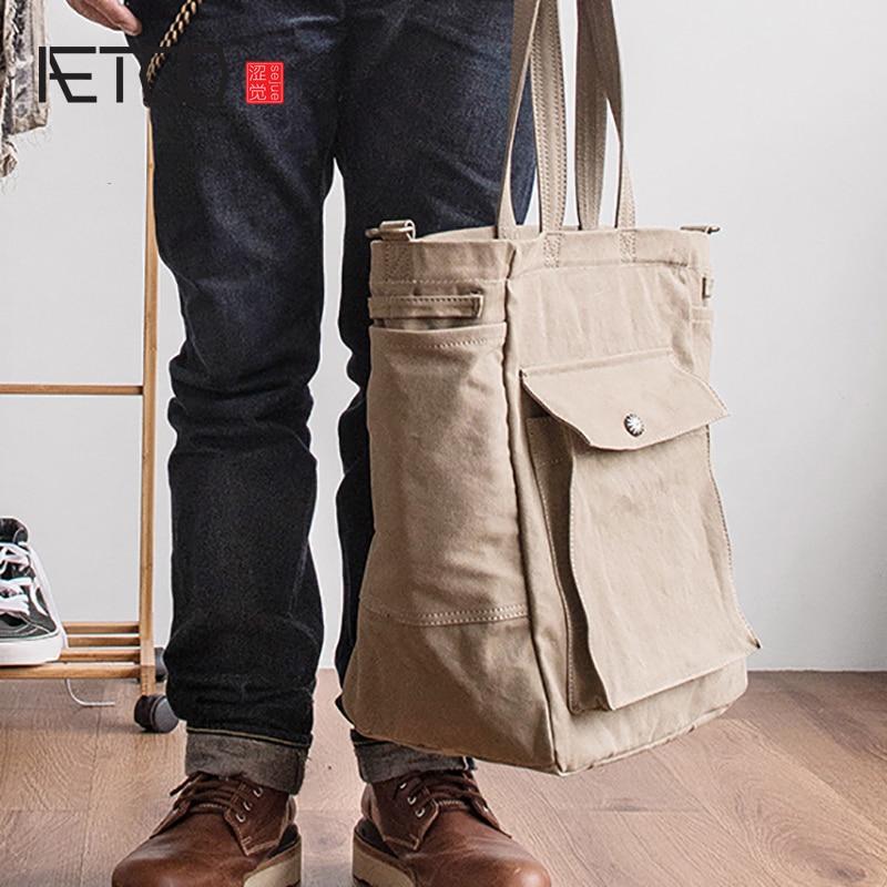 AETOO Japanese literary satchel canvas man retro shoulder crossbody bag literary handbag