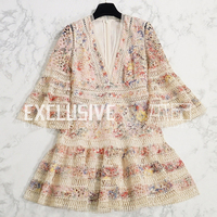 SVORYXIU 2018 Summer Women's Sexy Runway Dress Flare Sleeve Stunning Printed Hollow Out Embroidery Deep V Neck High End Dresses