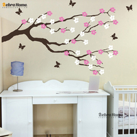 Tree Branch Floweres And Butterflies Wall Sticker Removeable Modern Art Decal Mural Wallpaper For Bedroom Home Decoration
