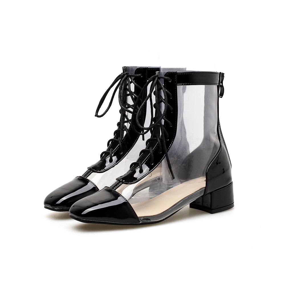 Women PVC Ankle Boots Lace Up Pointed Toe Transparent Booties Zip Back 3.5 cm Heel Height Fashion Design Size 35-40 Black White black front lace up a line mini skirt with back zip