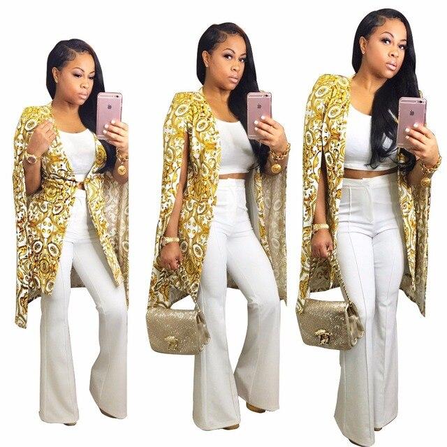 fce08b47d Levar a tendência da moda roupas femininas ouro mulheres à noite as  mulheres elegantes casacos abrir