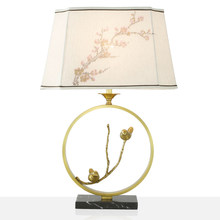 led e27 Chinese Iron Fabric Copper Marble LED Lamp.LED Light.Table Light.Table Lamp.Desk Lamp.LED Desk Lamp For Bedroom Foyer(China)