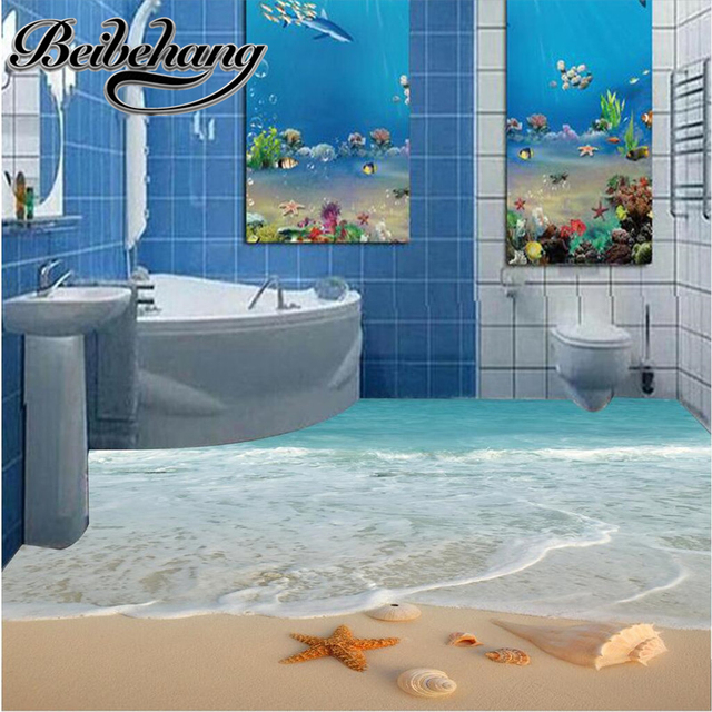 € 15.77 42% de réduction Beibehang personnalisé 3D peinture au sol HD bleu  coquilles paysage de plage étanche salle de bains cuisine balcon PVC ...