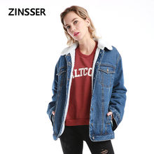 Women Denim Fancy Jacket Regular Loose Casual Artificial ambswool Embroidery Long Sleeve 100%Cotton Washed Blue Female Lady Coat(China)
