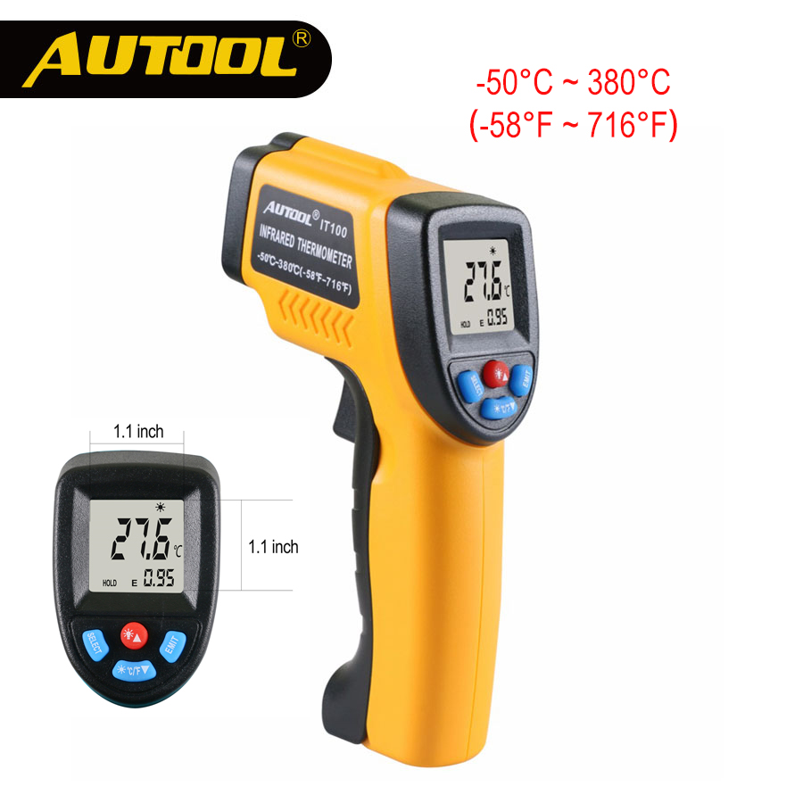 AUTOOL IT100 Infrared Thermometer Non-contact Digital LCD Display Infrared Thermometers Home Industrial Use C/F Same as GM320 1 1 green backlit lcd infrared ear thermometer 0 c 100 c 2 x aaa