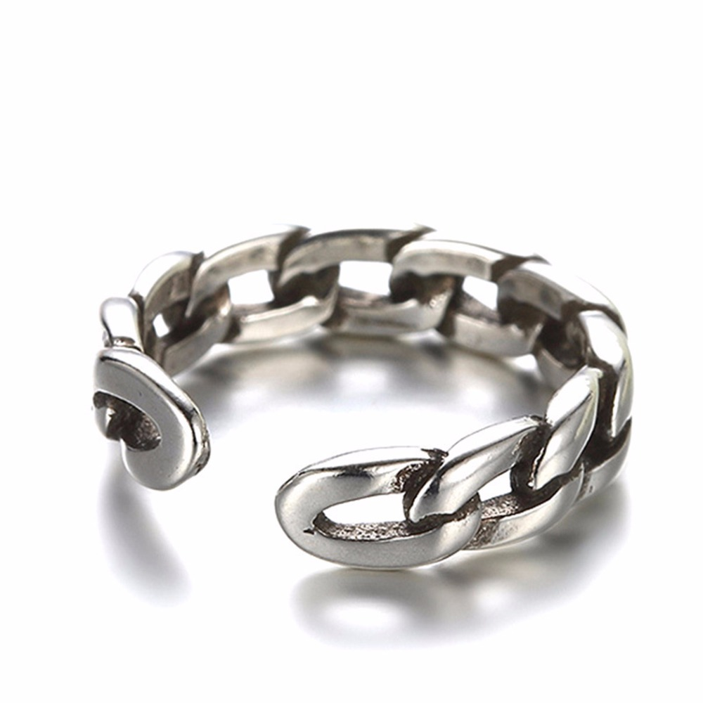 Kinitial Vintage Twist Chain Retro Rings For Women Open-end Ring With Cuban Chain Ring Fashion Finger Jewelry anillos 1