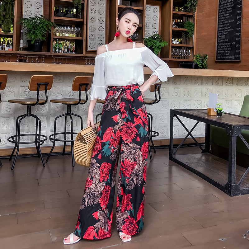 Pottis Beach Print Fashion   Wide     Leg     Pants   2018 Summer Vacation Bohemia   Wide     Leg     Pants   Large Size Beach Travel Trousers