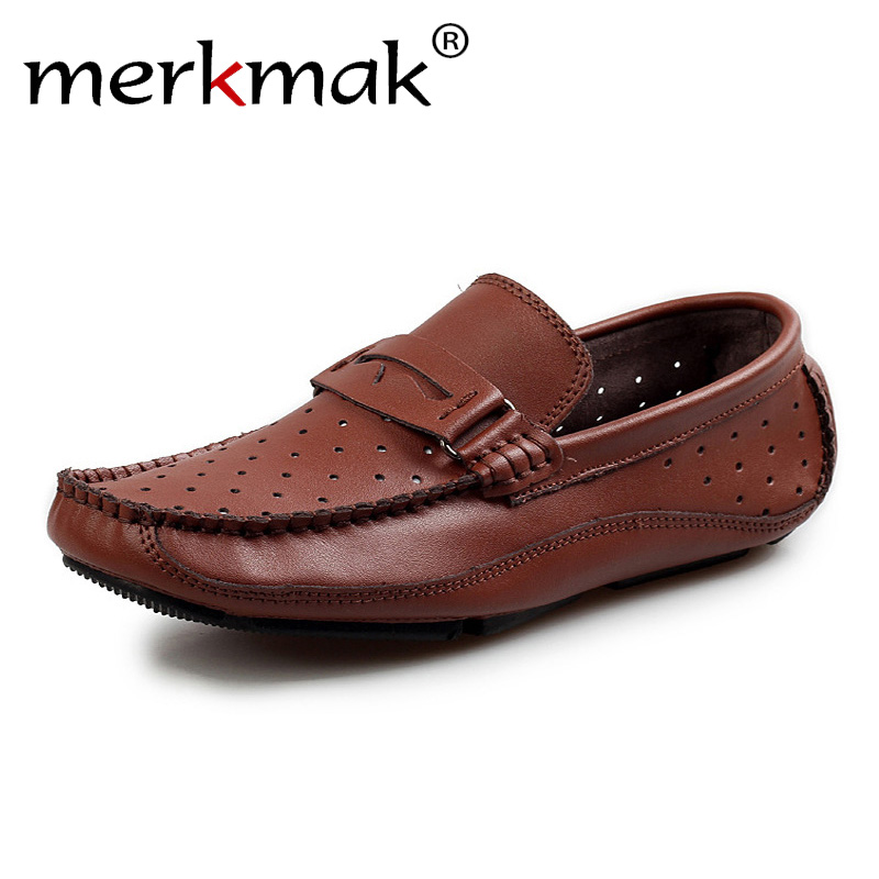 Merkmak Summer Breathable Men Loafers Handmade Moccasins Genuine Leather Casual Shoes Slip On Flats Mens Driving Shoes Big Size aodlee summer breathable mesh shoes mens casual shoes leather slip on brand fashion handmade flats for men loafers comfortable