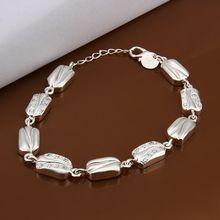 Fina del verano del estilo de plata chapada pulsera 925-sterling-silver joyería pulseras de cadena de diamante para mujeres hombres SB331