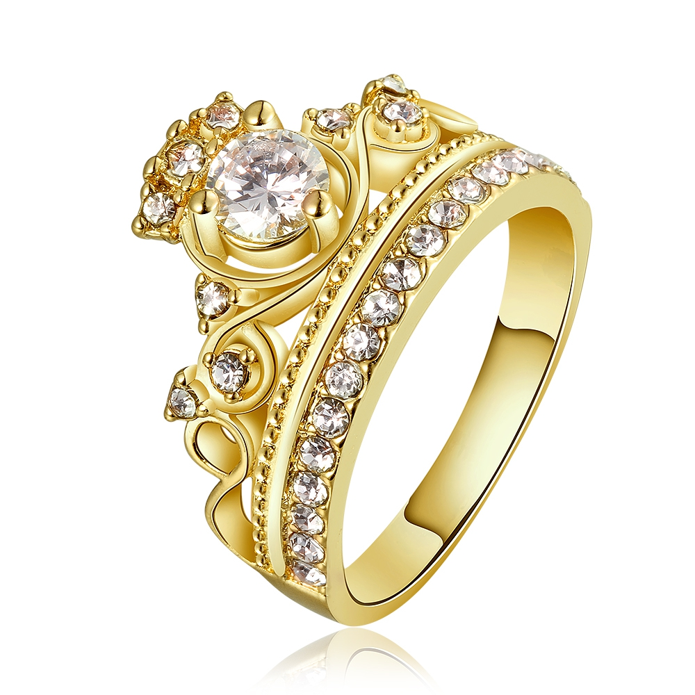 Favorite Rose Gold Finished Fashion Female Ring Princess Tiara Rings White  LH51