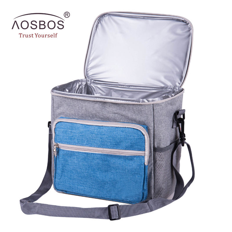 Aosbos Shoulder Insulated Lunch Bag for Women Men Kids Waterproof Thermal Cooler Bag Box Square Oxford Storage Tote Lunch Bags цена 2017