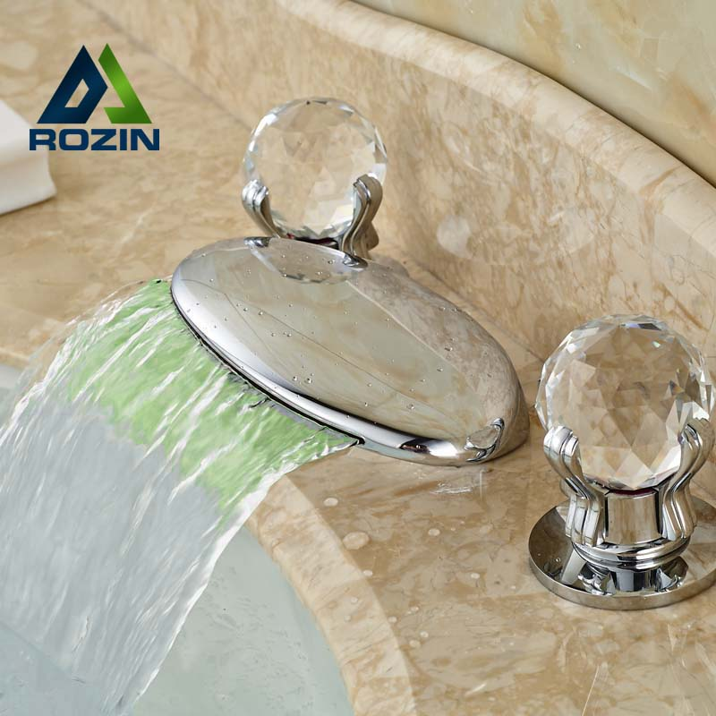 ФОТО Fashion Design High Quality Basin Vessel Countertop Mixer Taps Dual Crystal Handle Polished Chrome Faucet
