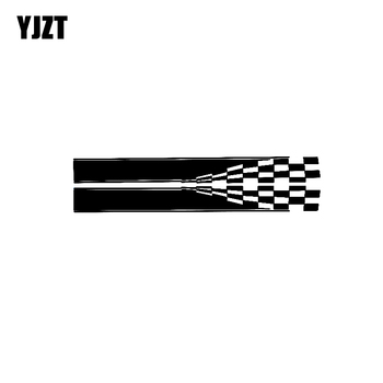 YJZT 20CM*4.6CM Fashion Checker Flag Car Door Body Sides Decrative Decals Graphical Stickers C11-1311 image