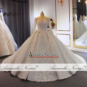 Image 5 - Luxury ball gown wedding dress long sleeves mariage 2020 with full beading