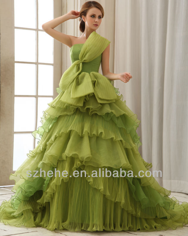 MZY429 green layers vintage sleeveless off the shoulder floor length ...