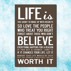 Love Life - Motivational Quote Education Art Silk Canvas Poster Print 13x20 24x36 Inches Office Decor 004