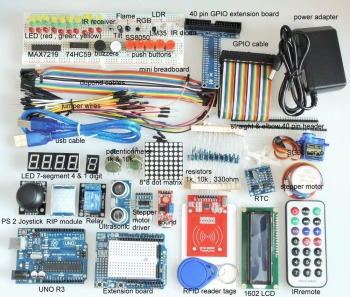 цена на [Sintron] Full Edition UNO R3/RFID Starter Kit for Arduino & Raspberry Pi 49+ parts