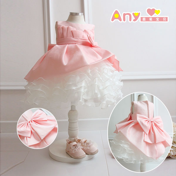2014 new girl's princess wedding dress female Children's one-piece lace baby girl year party ball flower - Super-Mom store
