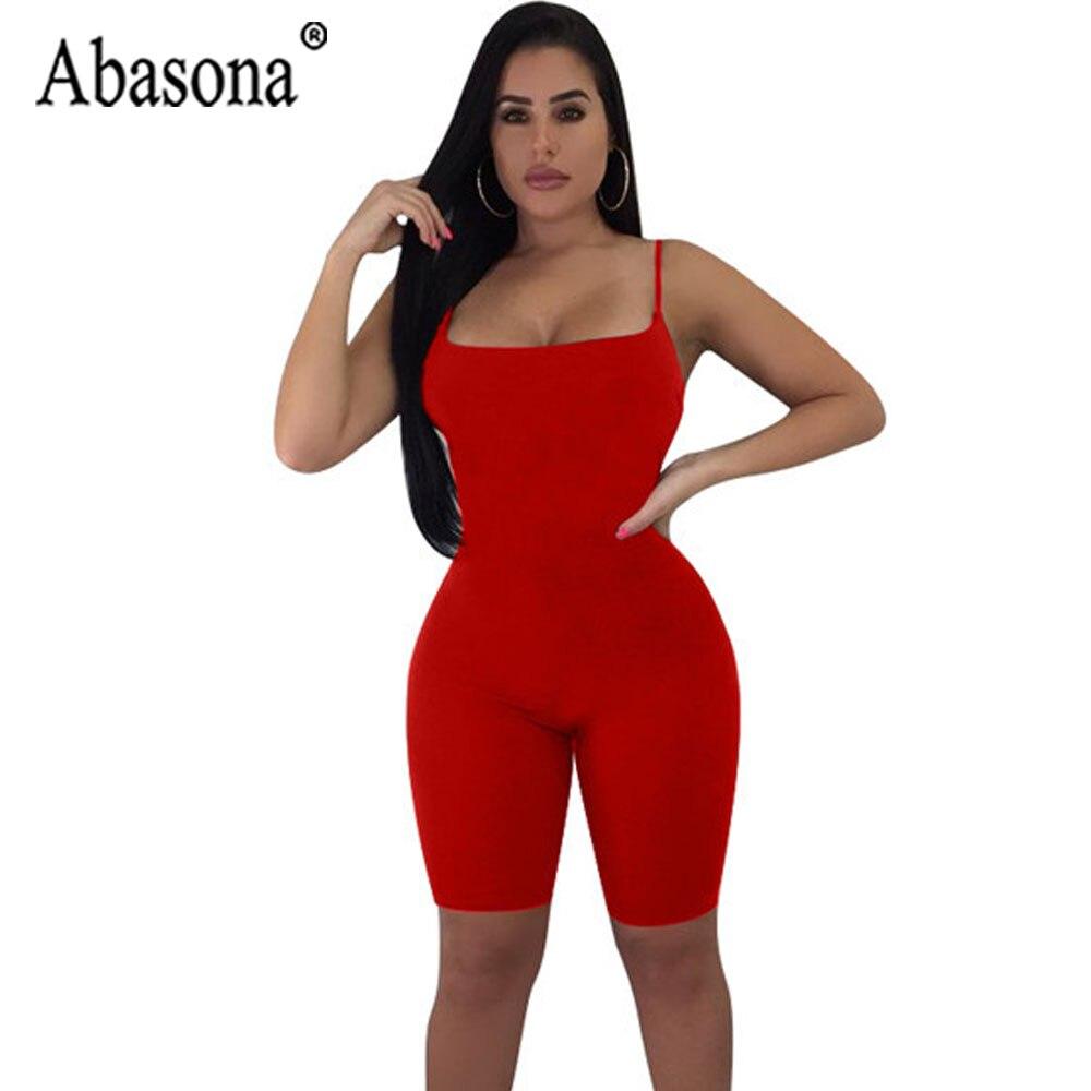 00a6e7bcbea9 Abasona Solid Women Sexy Bodycon Playsuit Nightclub Womens Spaghetti Strap  Jumpsuit Autumn Bottoming Women Short Romper