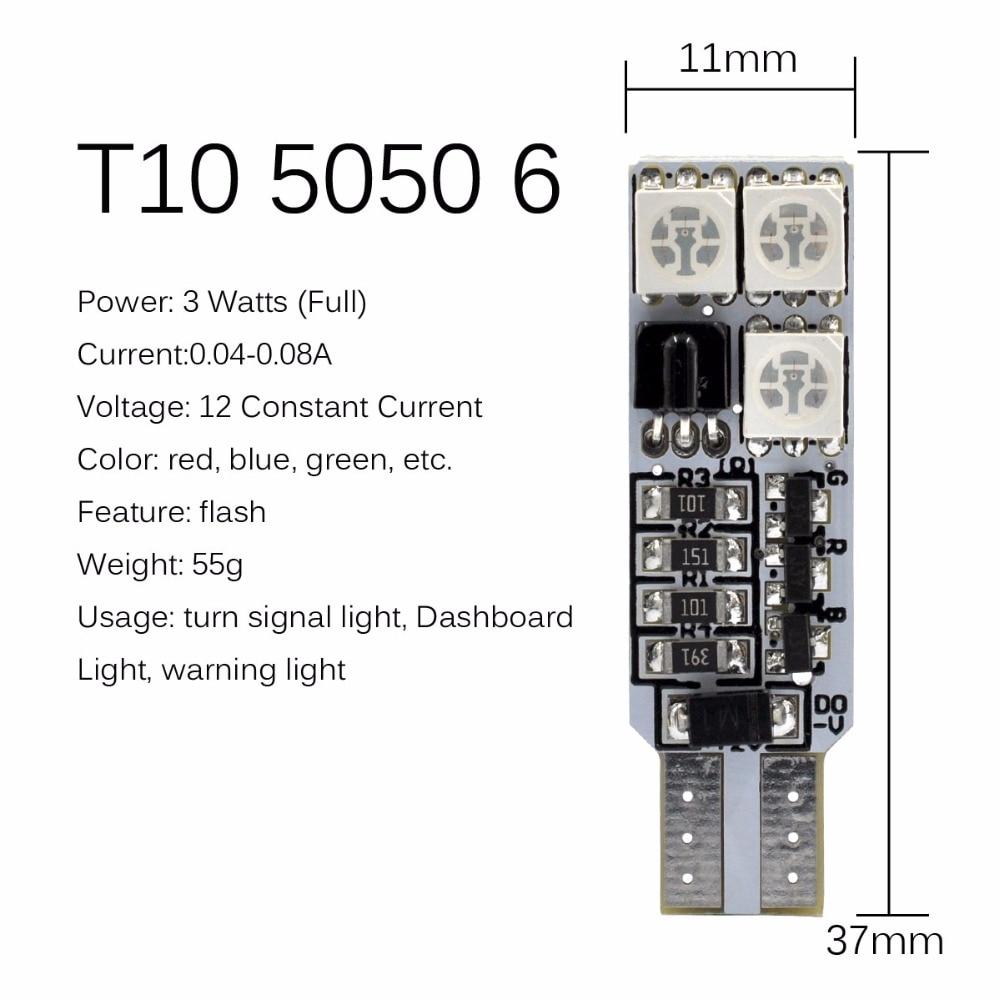 AutoEC 1 készlet T10 194 w5w RGB 5050 6 SMD többszínű LED-es - Autó világítás - Fénykép 3