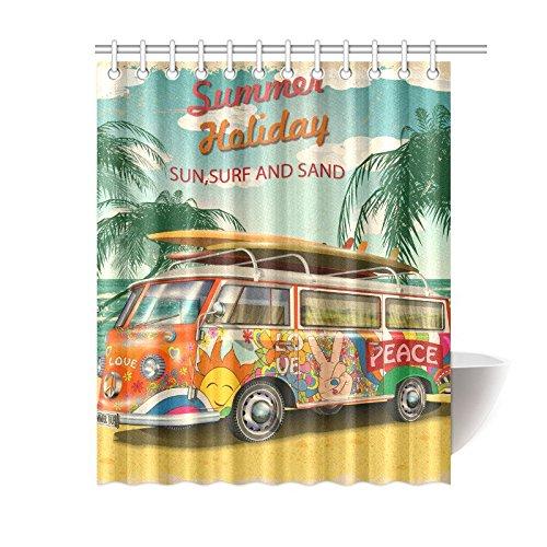 NANAZ Custom Summer Holidays Retro Bus Bathroom Waterproof Fabric Shower Curtain