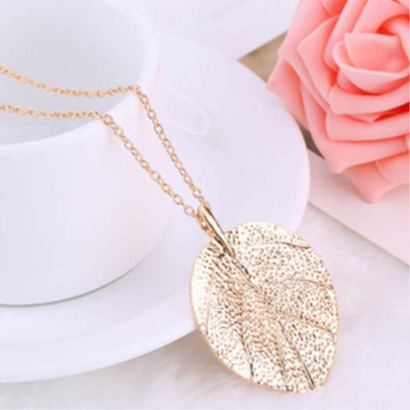 2018 Fashion New For Women Fashion Jewelry Maxi Necklace Gold Color Chain Leaf Design Pendant Necklaces   8ND373