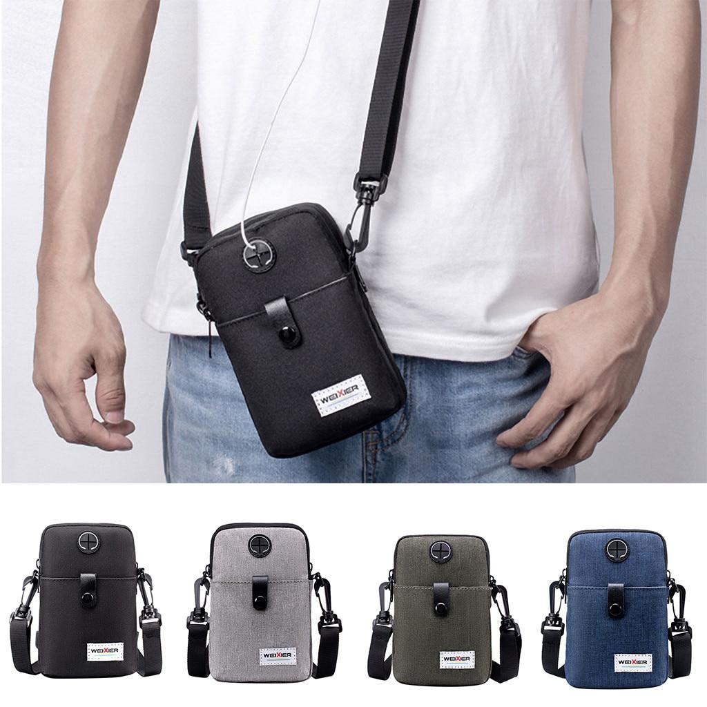 Men Small Square Single Shoulder Bag Mini Hip Hop Style Mobile Phone Casual Crossbody Bags For Women Pouch Travel Wallet Handbag