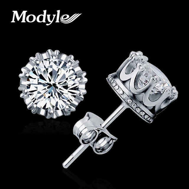 Modyle Fashion Jewelry 8MM Round 2 Carat Cubic Zirconia Silver-Color Stud Earrings for Women