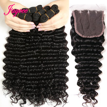 Brazilian Hair Weave Bundles With Closure 3bundles hair and closure Deep Wave Human Hair Bundles With Closure Remy Hair(China)