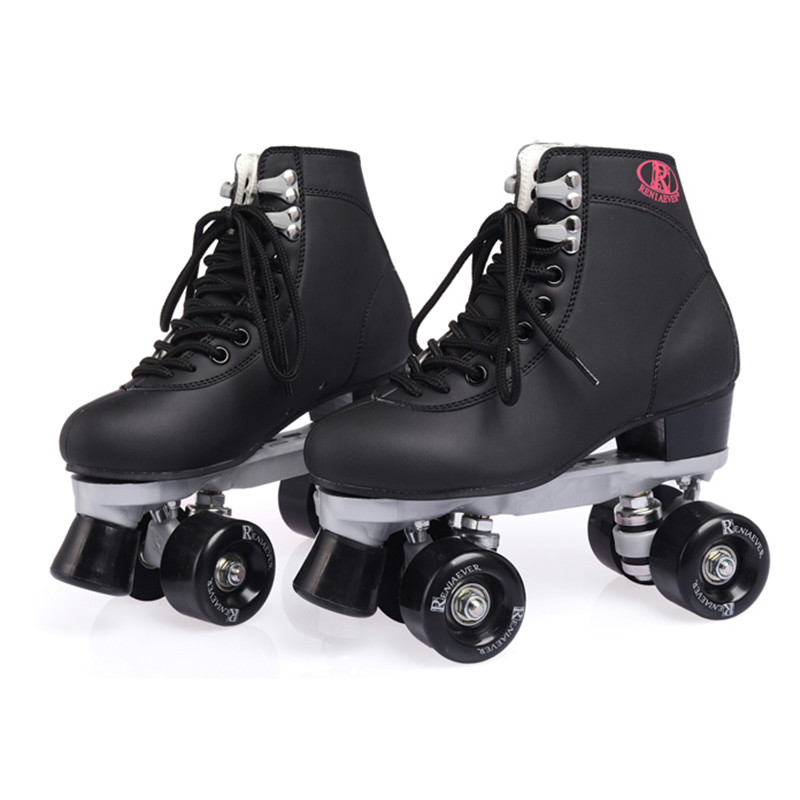 New Double Row Roller Figure Skates Two Line Roller Skating Shoes Patines Adulto Black Adult Cowhide Embossing PU Wheel 85A IB17