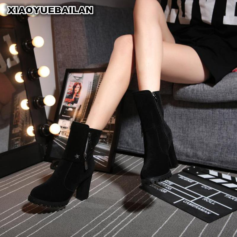 2017 New Winter Boots With Thick Shoes Side Zipper Martin Scrub martin new winter with thick british style short canister female fall side zipper boots