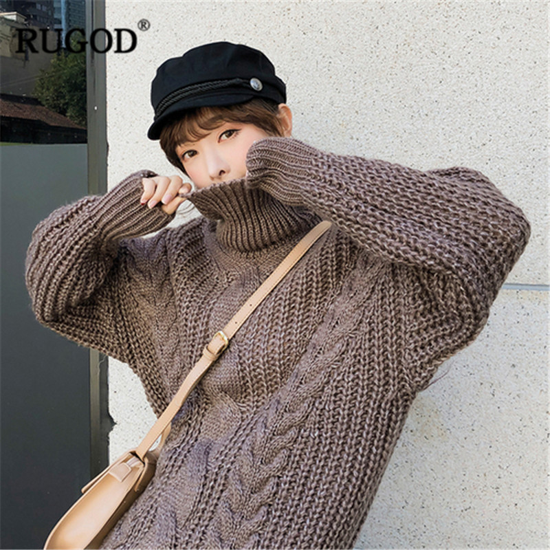 RUGOD Vintage Solid Turtleneck Women Pullovers Casual Thick Women Sweater Knitted Elegant Warm Winter Clothes sueter mujer
